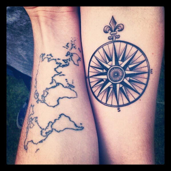 40 creative best friend tattoos hative 37 world map and compass on arms gumiabroncs Gallery