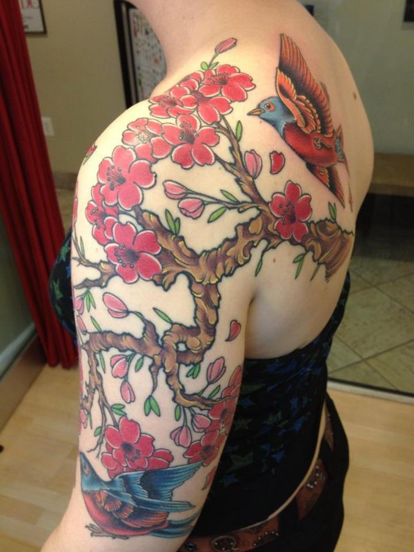 12 cherry blossom on shoulder