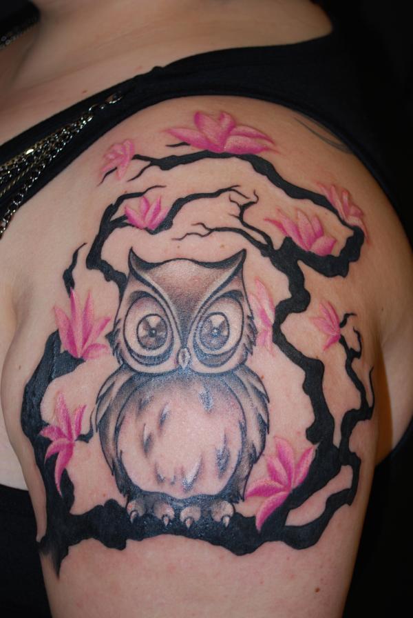 13 cherry blossom owl shoulder
