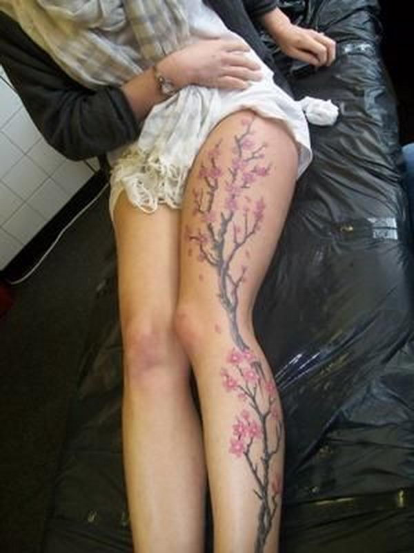 25 cherry blossom tree leg tattoo