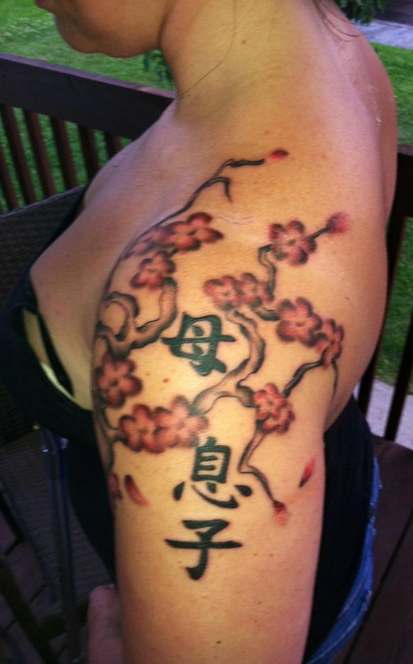3 cherry blossom branch japanese symbols