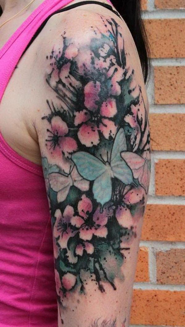 40 cute cherry blossom tattoo design ideas hative. Black Bedroom Furniture Sets. Home Design Ideas