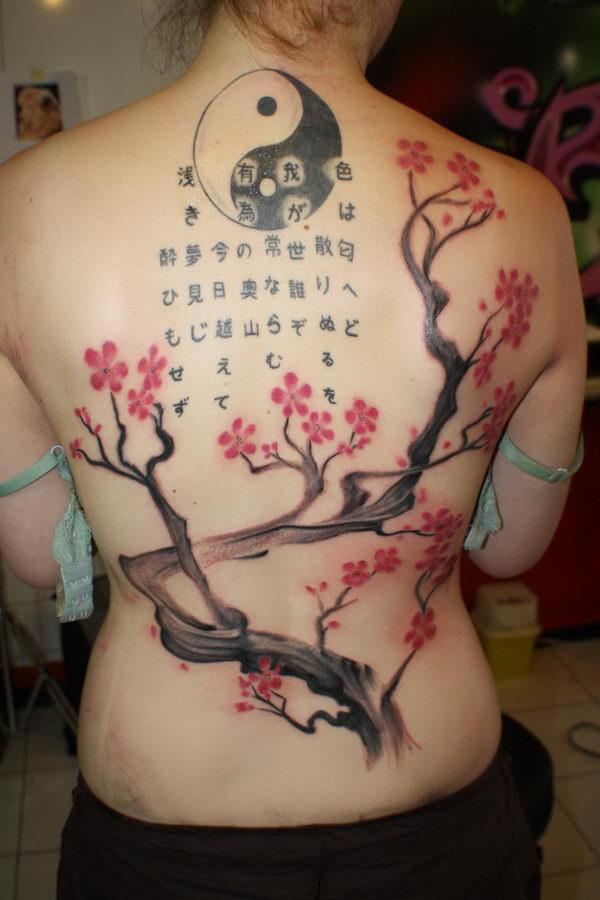 6 cherry blossom kanji and yin yang