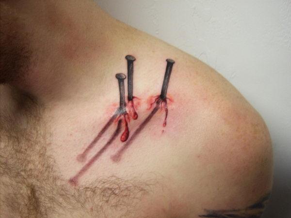 3d nails tattoo collar bone 12