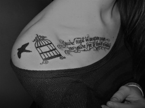 bird word tattoo collar bone 3