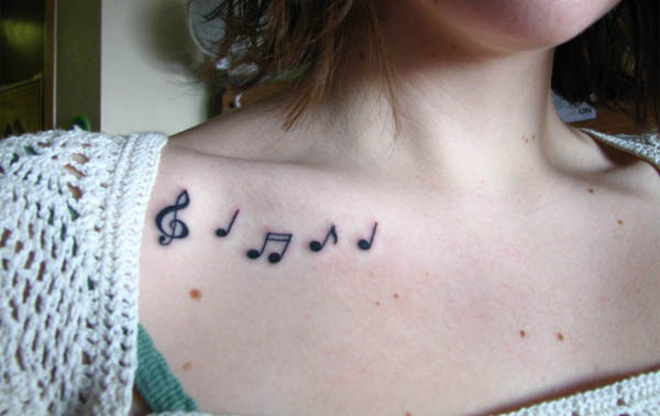 music notes collarbone tattoo 52