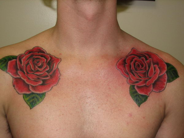 roses painted on collarbone 20