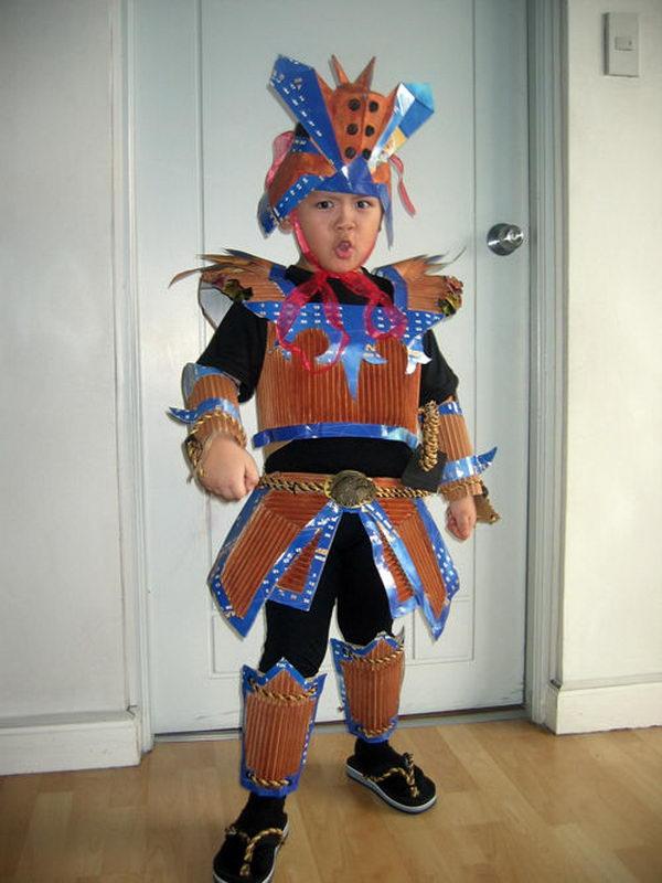 7 samurai costume recycled materials