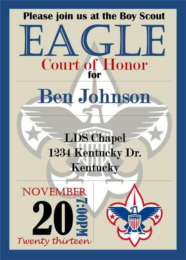 10 cool eagle scout invitations hative for Eagle scout certificate template