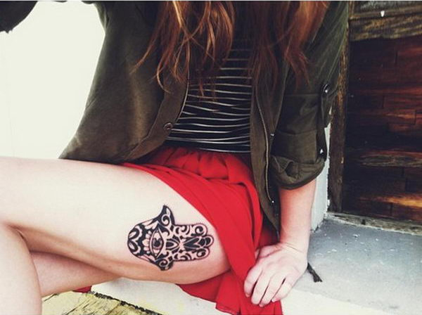 Hamsa on Thigh Hamsa Hand Tattoo Thigh