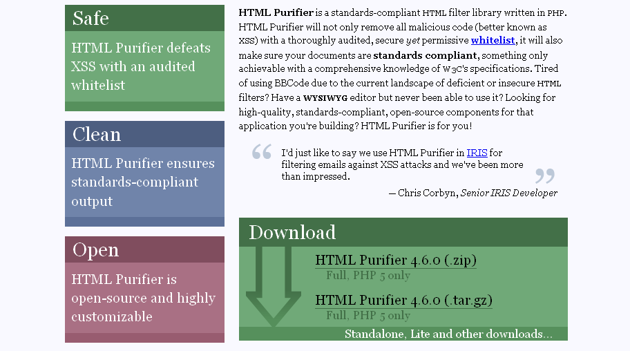 Open Source HTML Filter Library: HTML Purifier - Hative