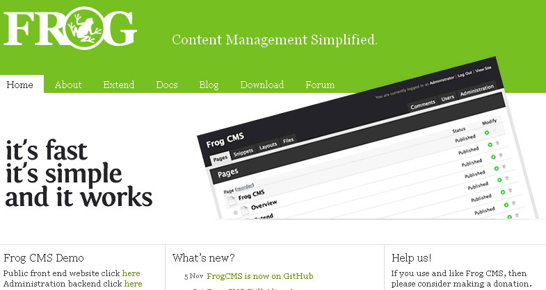 open source simple php cms frog demo view demo download
