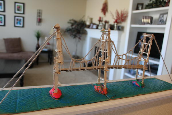1 popsicle stick suspension bridge