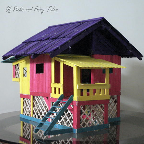 15 Homemade Popsicle Stick House Designs - Hative