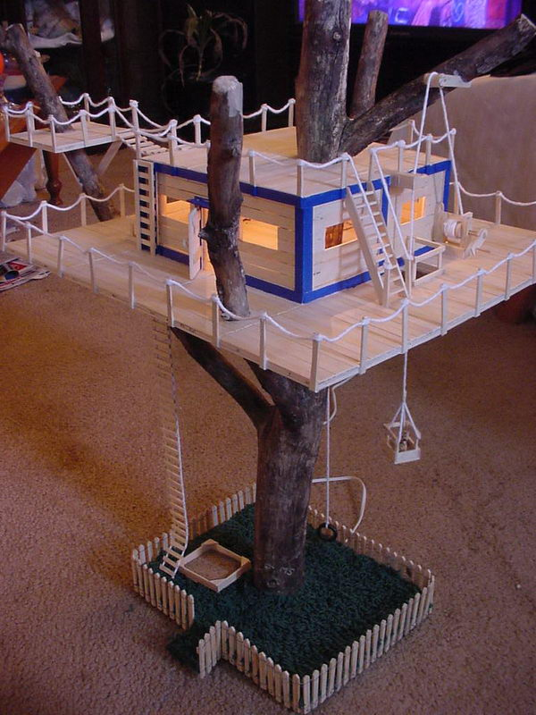 The gallery for popsicle stick tree house easy for Cool popsicle stick creations