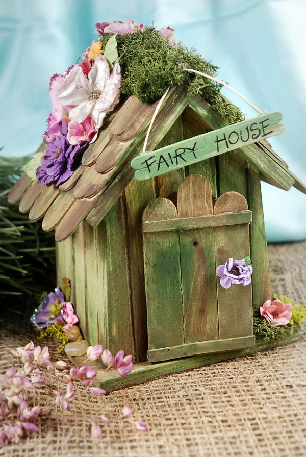 15 homemade popsicle stick house designs hative for Old age home landscape design