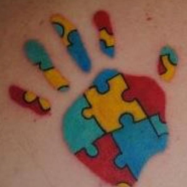 1 hand print with puzzle pieces