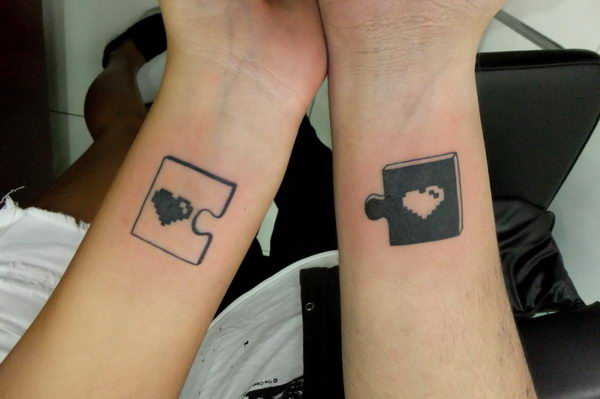 11 cute puzzle piece matching tattoo
