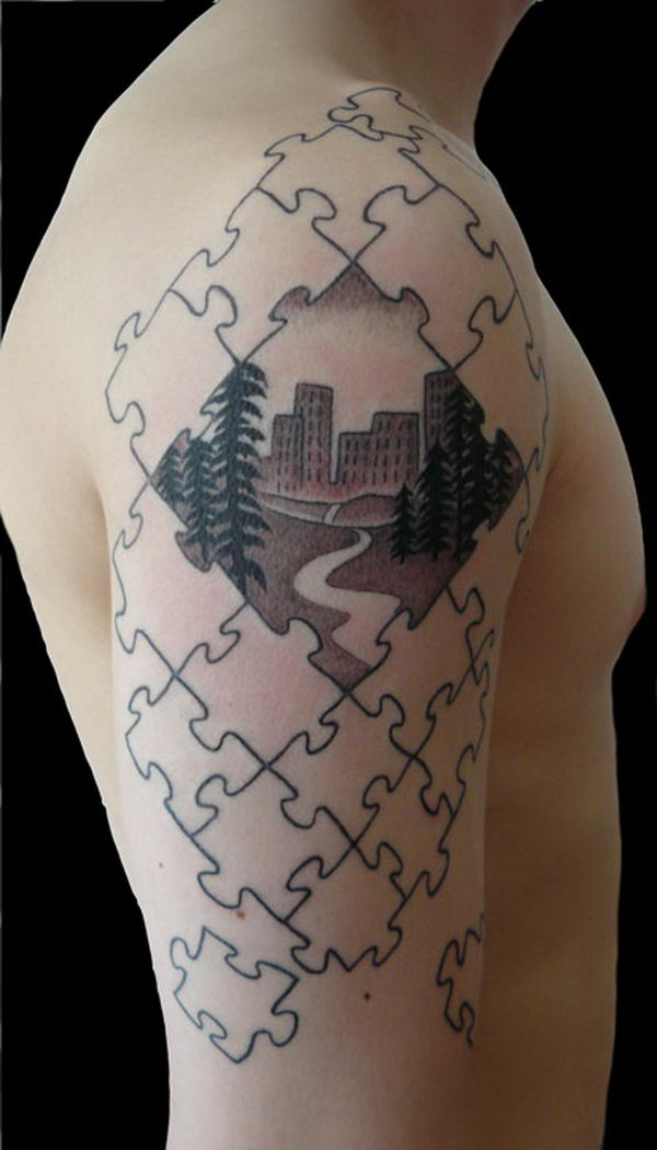 29 puzzle piece on arm