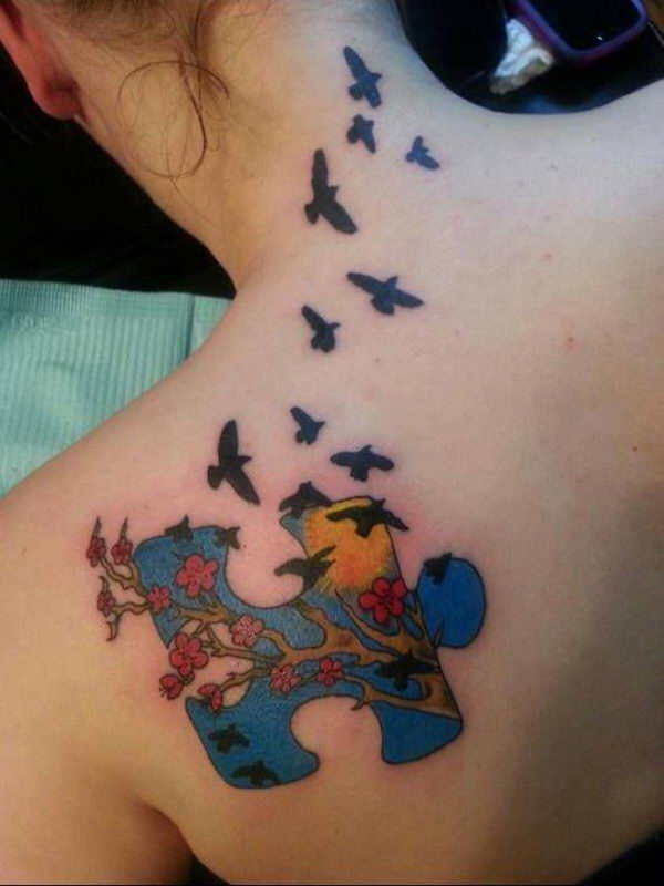 4 autism puzzle piece birds shoulder