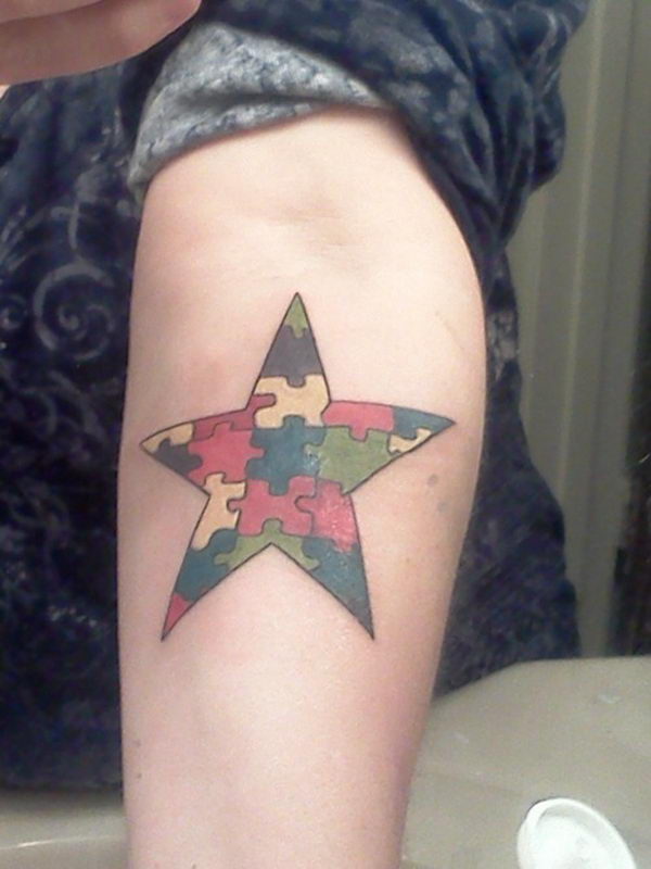 40 puzzle star on arm