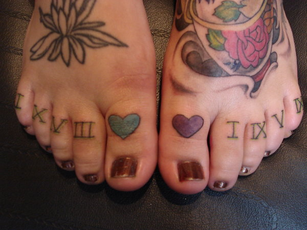 7 roman numerals on toes