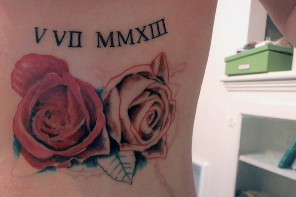 9 roses and roman numerals