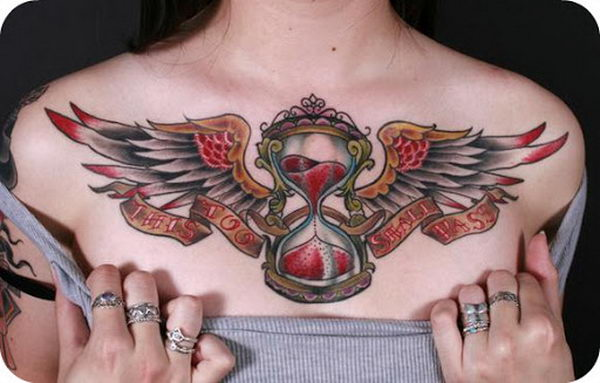 11 hourglass and wings on chest