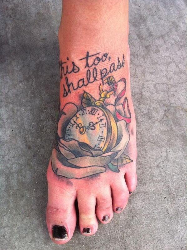 13 clock flower cursive letters on foot
