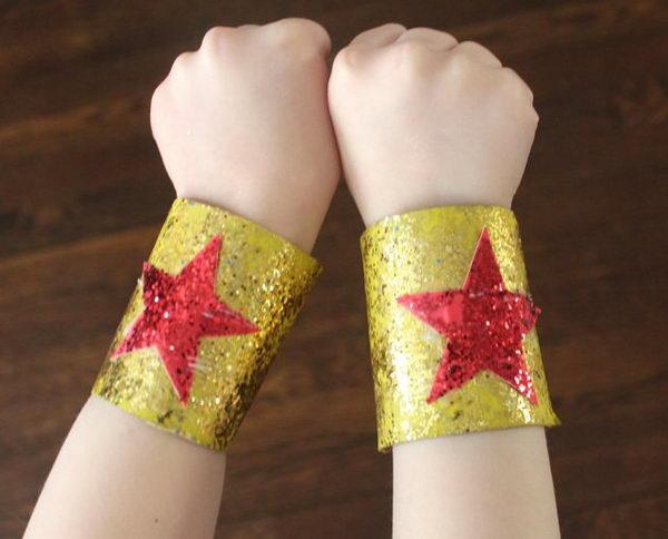 53 super hero bracelets http://hative.com/homemade-toilet-paper-roll-crafts/
