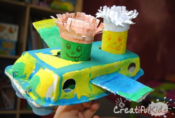 12 homemade plane and pilot http://hative.com/homemade-transport-toilet-paper-roll-crafts/