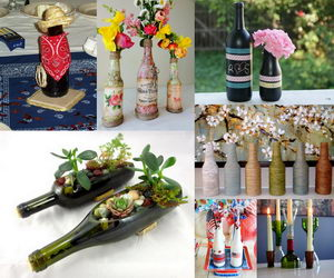 wine bottle centerpieces collage