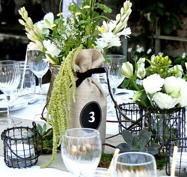 20 creative wine bottle centerpieces hative Wine bottle wedding centerpieces