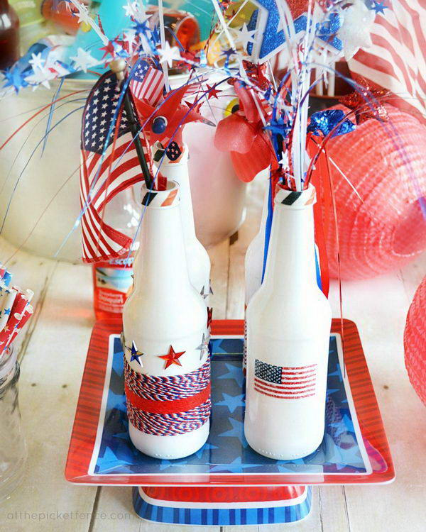 2 patriotic recycled bottle