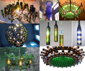 wine bottle chandeliers collage