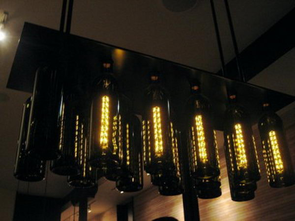 10 black bottle chandelier