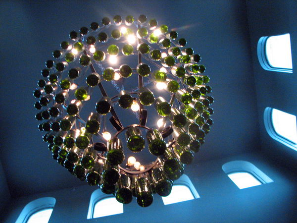 13 homemade bottle chandelier