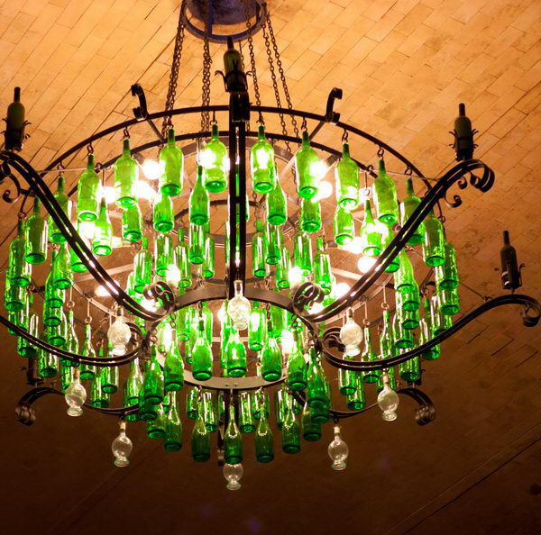 25 creative wine bottle chandelier ideas hative 16 wine bottle chandelier banfi aloadofball