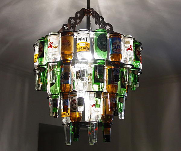 25 Creative Wine Bottle Chandelier Ideas - Hative