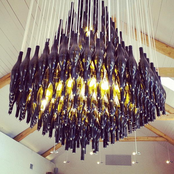 25 creative wine bottle chandelier ideas hative. Black Bedroom Furniture Sets. Home Design Ideas