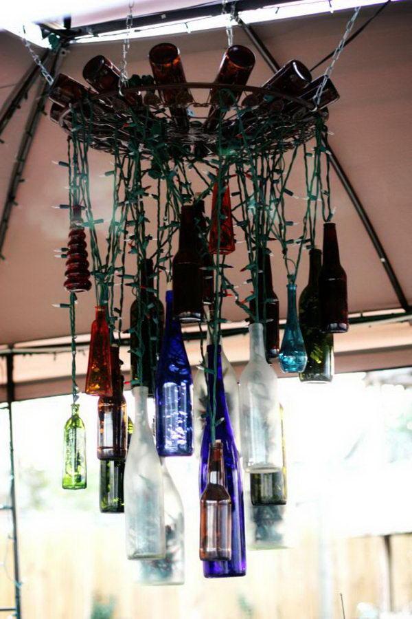 25 creative wine bottle chandelier ideas hative for Chandelier craft ideas