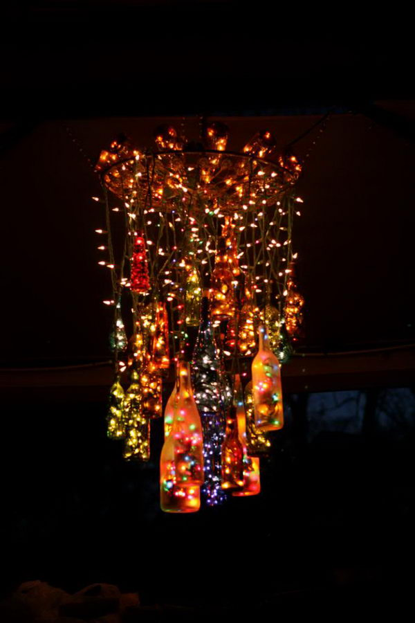 25 creative wine bottle chandelier ideas hative 7 handmade chandelier craft mozeypictures Gallery