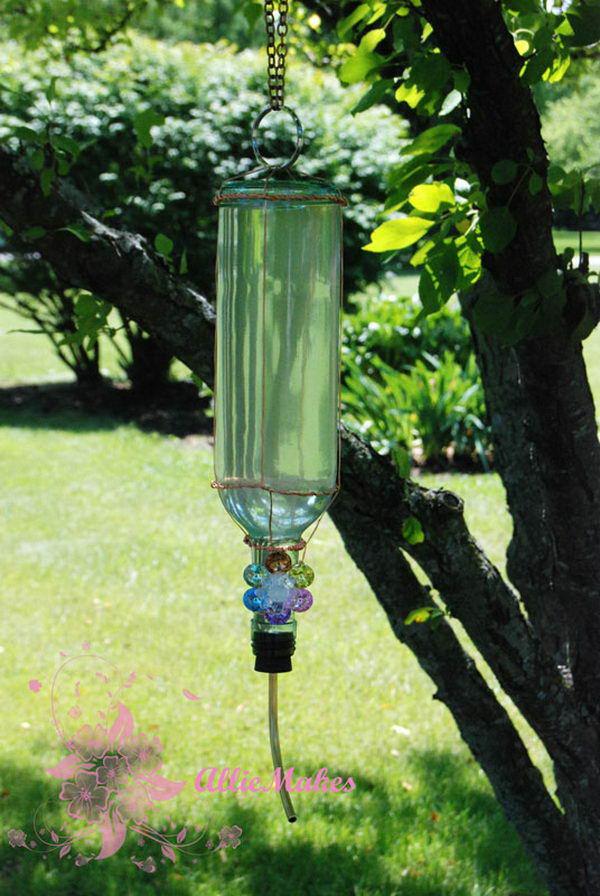 Wine Bottle Hummingbird Feeder.