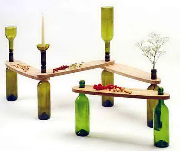 User Designed Table Using Recycled Wine Bottles.