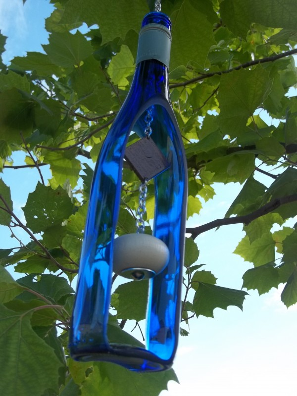 80 homemade wine bottle crafts hative for Wind chimes from recycled materials