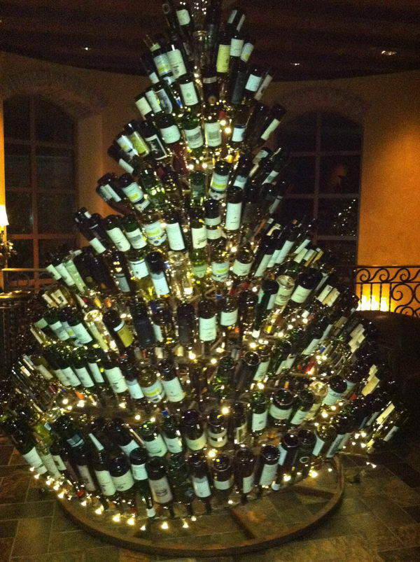 Christmas Tree Made with Recycled Wine Bottles.