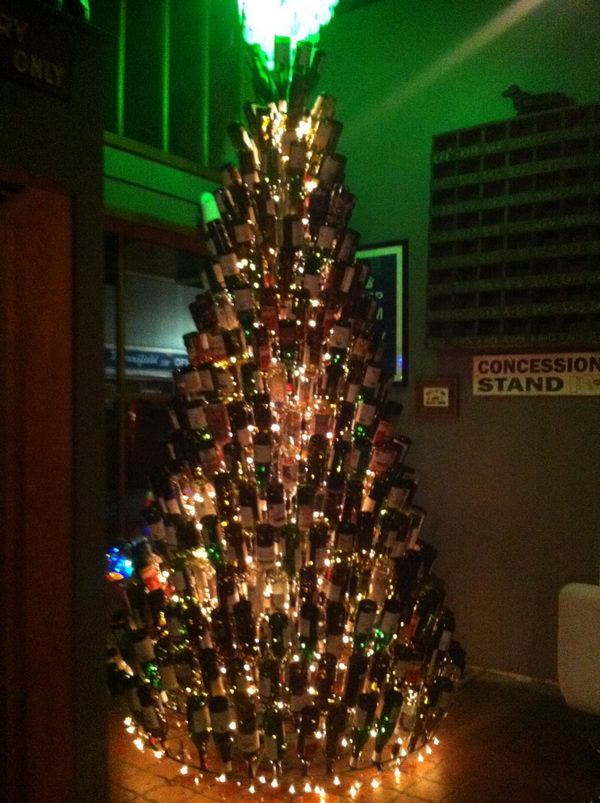 Wine Bottle Christmas Tree Craft.80 Homemade Wine Bottle Crafts Hative