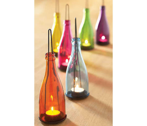28 colorful bottle lantern