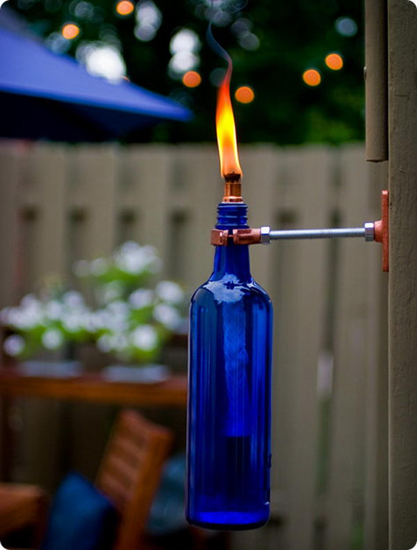 3 blue wine bottle torch