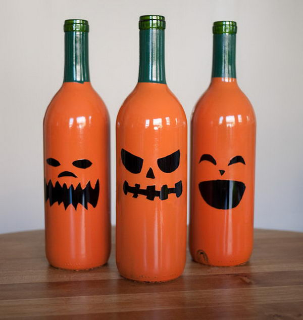 Halloween + Drinking = Wine Bottle Jack O Lanterns!